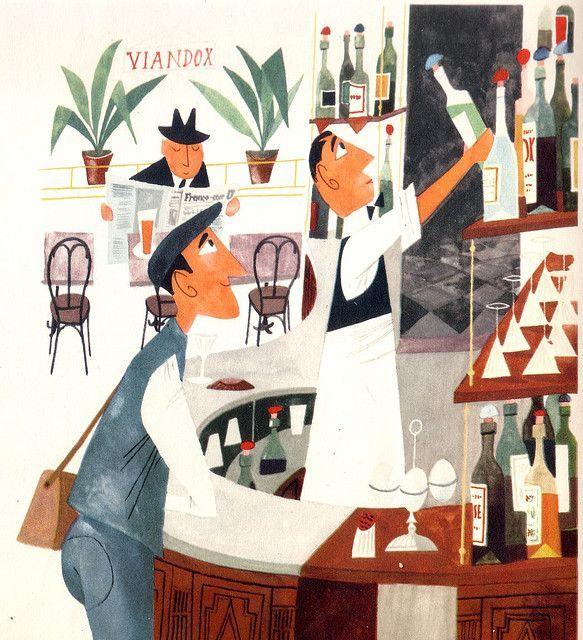Moroslav Sasek- awesome Bar scene  Mid-Century Modern Graphic Design