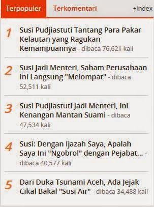 Sosok Menteri Kelautan dan Perikanan, Susi Pudjiastuti, menjadi topik terpopuler di kompas.com. Dari lima tulisan yang dimuat di Kompas Gramedia Digital Group ini, menjadi yang paling banyak dibaca.