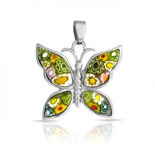 316L Stainless Steel Green Butterfly Pendant Millefiori Glass