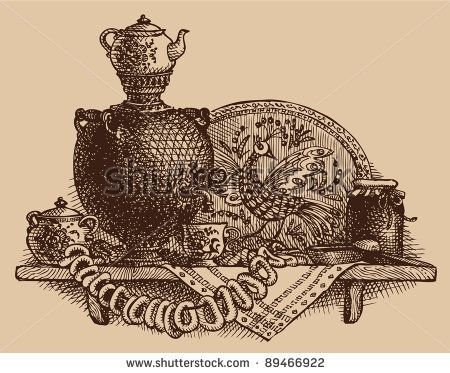 Vector sketch a still life of fragrant Russian tea-drinking with samovar, bagels and jam - stock vector