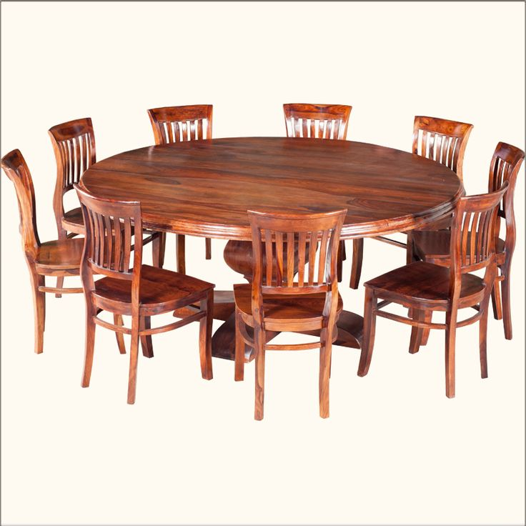 Rustic solid wood large round dining table chair set for Solid wood round dining room table