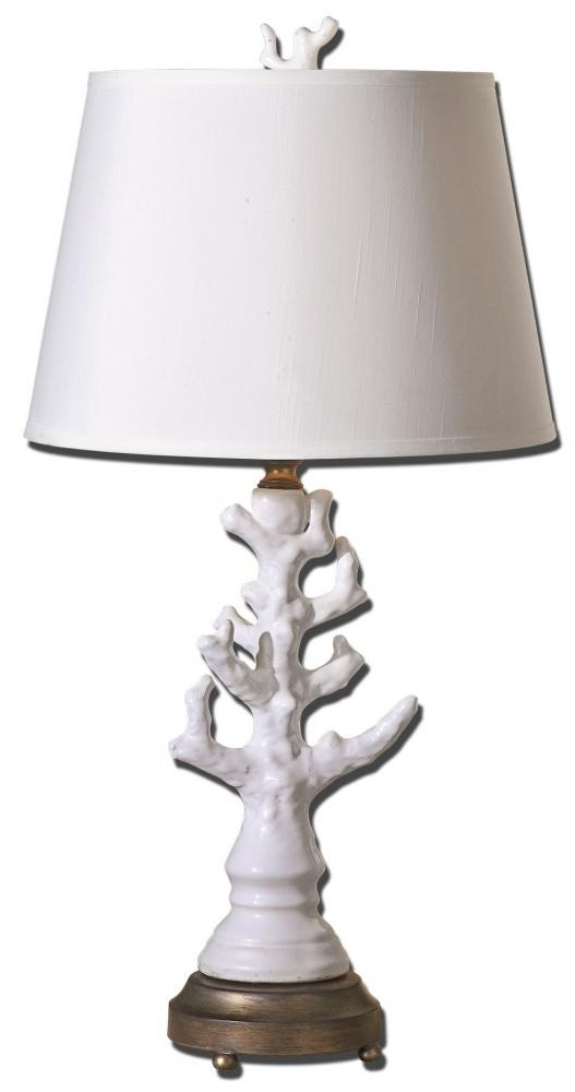 Lamp with ceramic base has antiqued silver details throughout the round hardback straight sided shade is an off white linen fabric with lighting