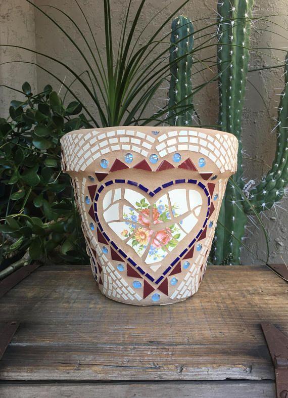 Mosaico de olla/plantador de la flor mano hecha a