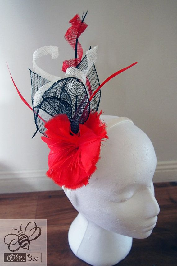 Black red cream fascinator by WhiteBea on Etsy, $34.50