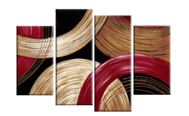 Multi Panel - Oil Painting Stretched - Abstract Red, Gold & Beige Circles 4-Panel Canvas  In Depth 100% handmade Oil Painting Wall Decor on canvas. Model Number: JEN - 600334 Type: Handmade Style: Abstract Subjects: Abstract Medium: Oil Support Base: Canvas Weight: 1kg Delivery Date: In stock: within 14 working days; out of stock: 21 - 30 working days.