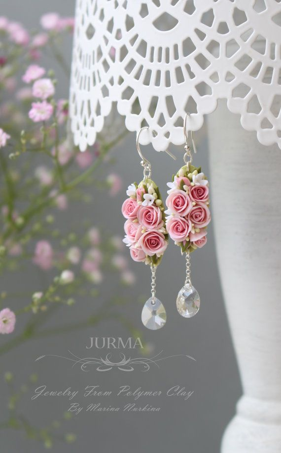 Long Dangle Earrings With Svarowski Crystals  Reserved di Jurma