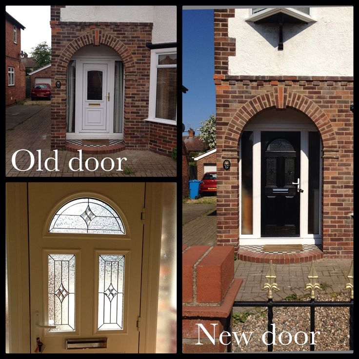 My new composite front door I love it!! Old PVC one was starting to crack so we needed to replace it. settled on this black, half moon design and it really compliments the archway on the front of our 1930's house.