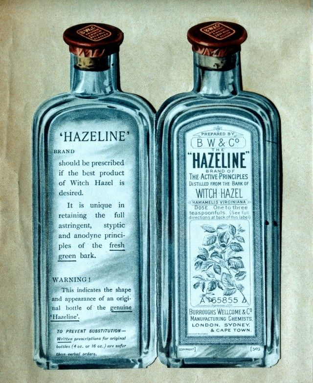 Credit: Wellcome Collection Wellcome Foundation Archives.  Advertisement for Hazeline bottles, 1903-04.