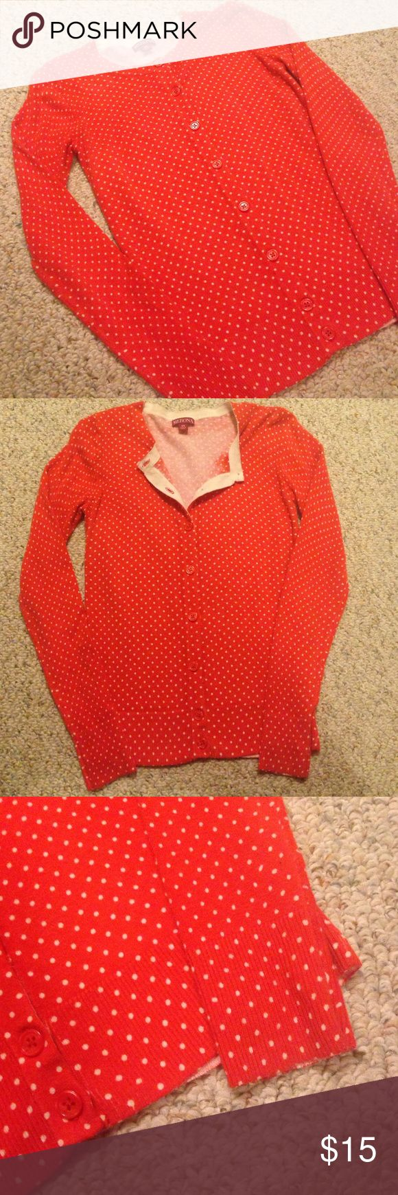 Orange Polka Dot Cardigan Cute cardigan. Looks great over chambray shirts or a simple white camisole. Also pairs well with vests. Gently used. Merona Sweaters Cardigans