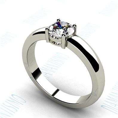 Anillo de compromiso en oro blanco con diamante talla brillante