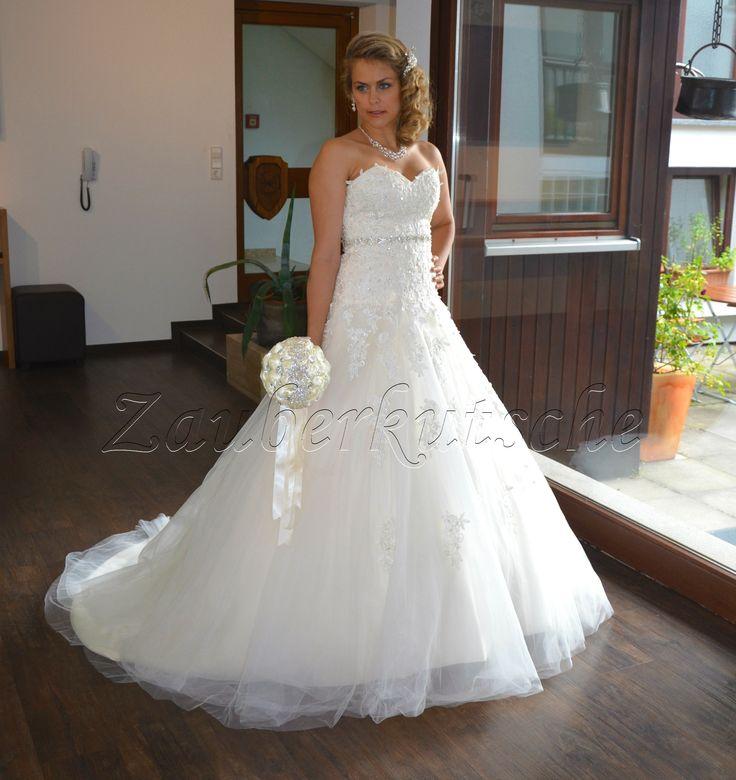 NEU Brautkleid Schleppe A-Linie Hochzeitskleid Gr. 34 - 48 Spitze Braut