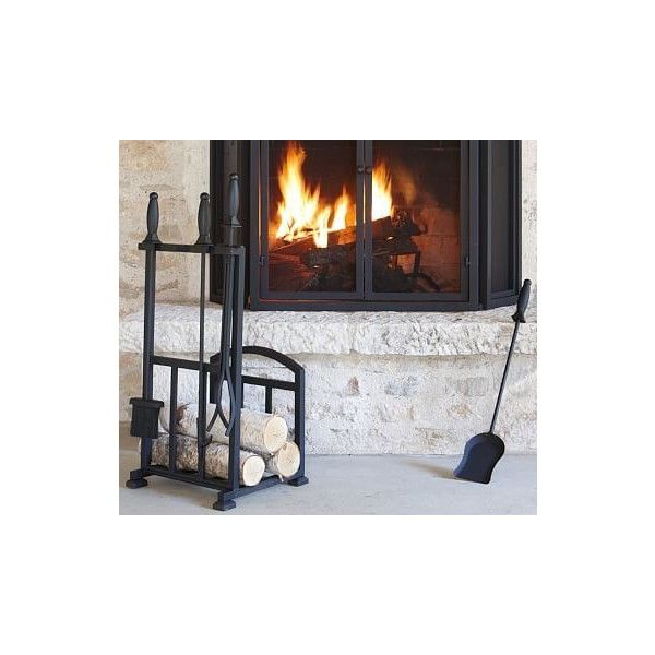 Pottery Barn Pb Classic Fireplace 5 Piece Tool Set Log Holder 199 Liked On Polyvore Featuring
