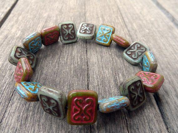 table cut  beads czech inka  style pattern  by RasikaWorkshop