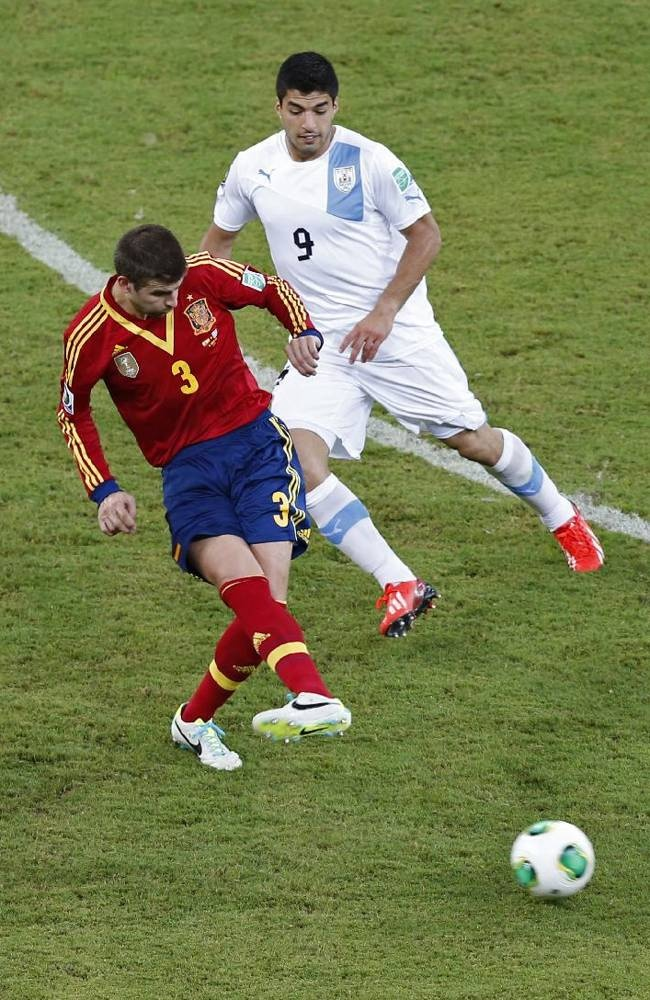 ~ Gerard Pique on the Spain National team against Luis Suarez on the Uruguay National Team in the 2013 Confederations Cup ~