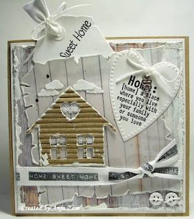 use hardwood stamp and corrugated cardboard for house warming card