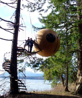 Free Spirit Spheres, Vancouver Island, Canada: This five-acre property in an old-growth forest consists of three pods (made of cedar, spruce, or fiberglass, respectively) suspended 10 to 15 feet in the air and accessed by staircases that wind around the trees. (Courtesy Free Spirit Spheres)    @Irini Mal ...