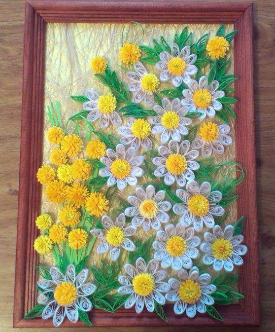 Картина «Очаровательные ромашки» в технике «квиллинг». Мастер-класс - Для воспитателей детских садов - Маам.ру