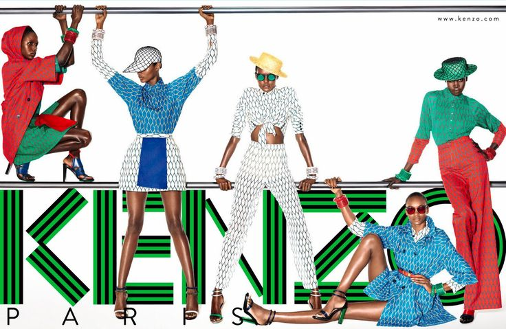 Kenzo Spring/Summer 2012  Alek Wek, Ajak Deng & Nairoby Matos by Mario Sorrenti.  Enjoying the art direction, the geometric textile patterns and the colour!