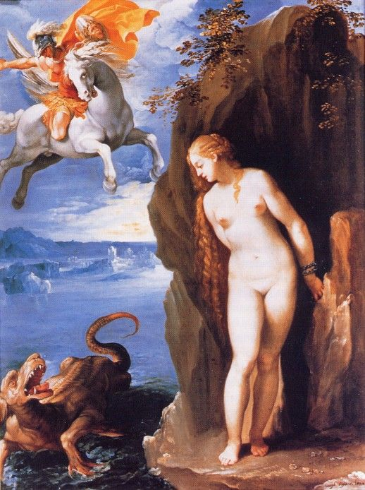 Cavalier d'Arpino, dating to c.1602.I have a theory that artists begin including Pegasus in their paintings cos of Ariosto's Orlando Furioso(first published in 1516),which describes Ruggiero riding a winged steed as he rescues Angelica.Because the scene of Ruggeiro and Angelica is very similar to perseus and Andromeda,I wonder if artists conflated the two to some degree,+thus began to paint Perseus with his own winged steed.In any case,Pegasus begins appearing as Perseus's steed around the17thC