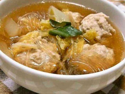 やわらか肉だんごと春雨で和風スープ☆の画像