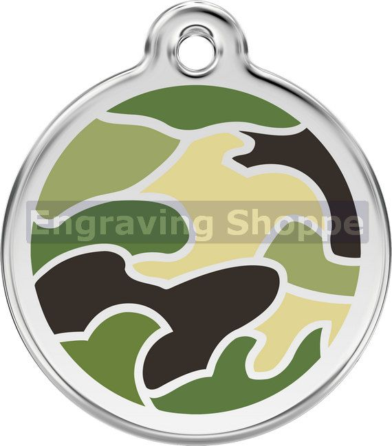 This listing is for one CAMOUFLAGE Pet Tag in your choice of Small, Medium or Large and choice of 3 colors. This tag can also be used as a zipper pull, luggage tag, key ring and more!  This tag is a beautiful Stainless Steel and Enamel very high quality tag that is guaranteed for life!   FEATURES:  - FREE PERSONALIZED ENGRAVING! - FREE SHIPPING! - FREE LIFETIME GUARANTEE!  - Guaranteed to never rust, break or corrode. - Engraving is guaranteed to always be readable and never rub off. - Each…