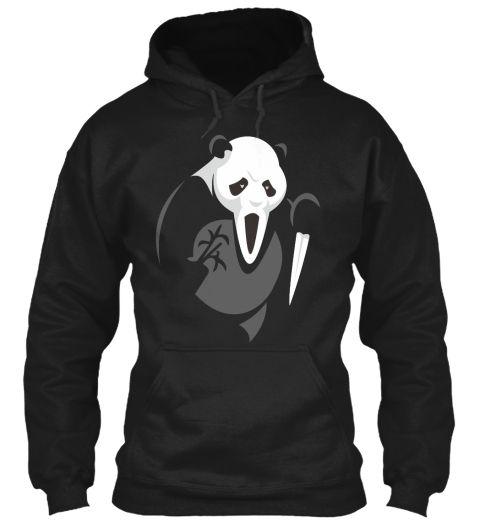 Panda Halloween Black T-Shirt Front