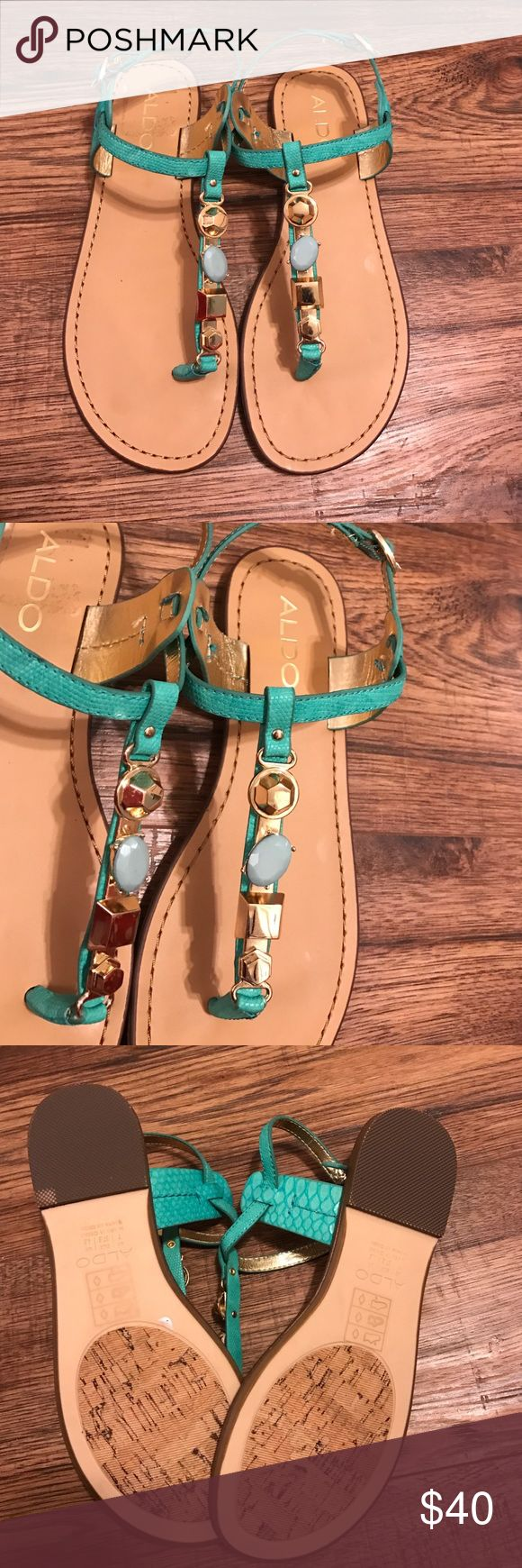 Also teal sandals Beautiful teal sandals with gold jewels. Not leather. But not worn. Aldo Shoes Sandals