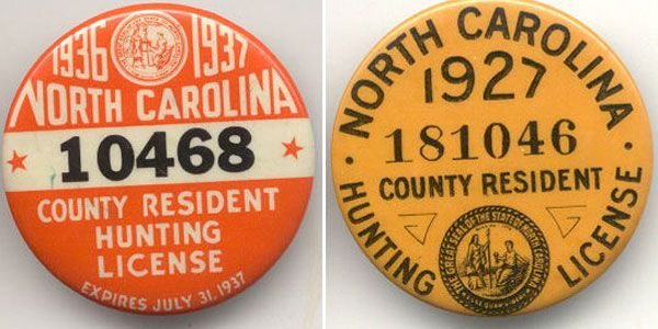 U.S vintage fishing and hunting permit graphics, type