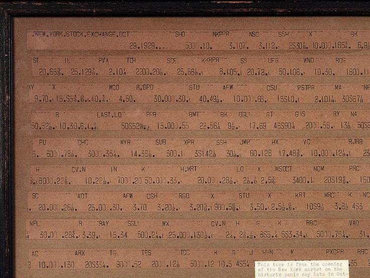 Ticker tape from Black Tuesday (October 29, 1929), showing the first trades of the historic day. Note the date at the top left and follow the stocks as their prices are quoted.
