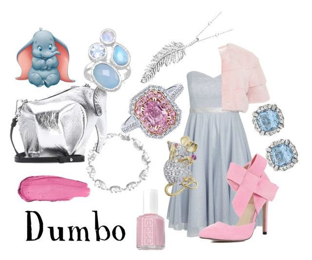"""Dumbo"" by sugarsop on Polyvore featuring Disney, City Chic, Gucci, Loewe, Tiffany & Co., Penny Preville, Essie, disney, disneybound and Dumbo"