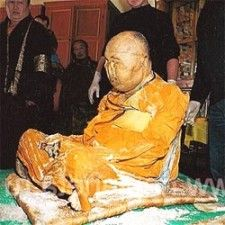 Supposed incorruptible lama Dashi  Dorzho Itigilov Ancient practice of self-mummification by Japanese Buddhist monks called sokushinbutsu. This 3000-day ritual called for a starvation diet and exercise to lose all body fat, then a slow self-poisoning with an arsenic rich diet, followed by an entombment and final starvation. The lack of body fat, the dehydration, and the high arsenic content made a reasonably good chance for mummification instead of decomposition