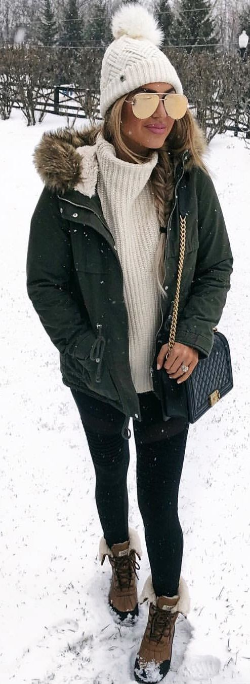 #winter #outfits Snow Essentials ❄️❄️❄️ This $52 Olive Parka Has Become My Winter Go-to Coat! Outfit Details: @liketoknow.it Http://liketk.it/2ulb8 #liketkit #ltkunder100