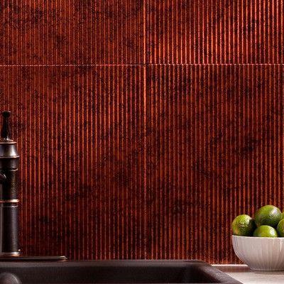 "Fasade Rib 18.25"" x 24.25"" PVC Backsplash Panel Kit in Moonstone Copper"