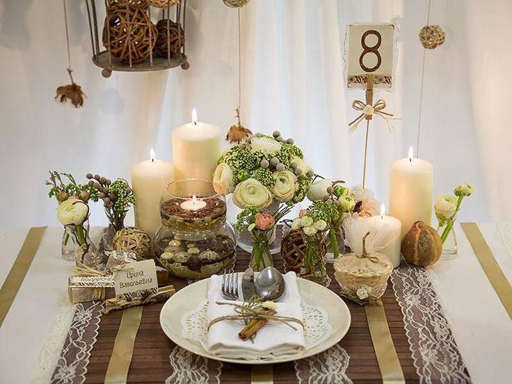 Как использовать свечи для украшения свадьбы в стиле рустик.
