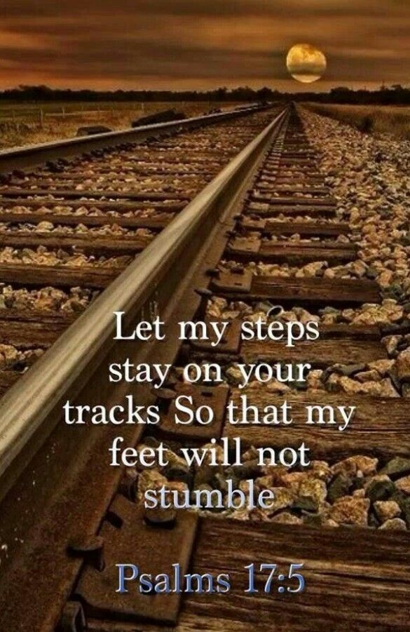 Let my steps stay on your tracks so that my feet will not stumble. Psalm 17:5