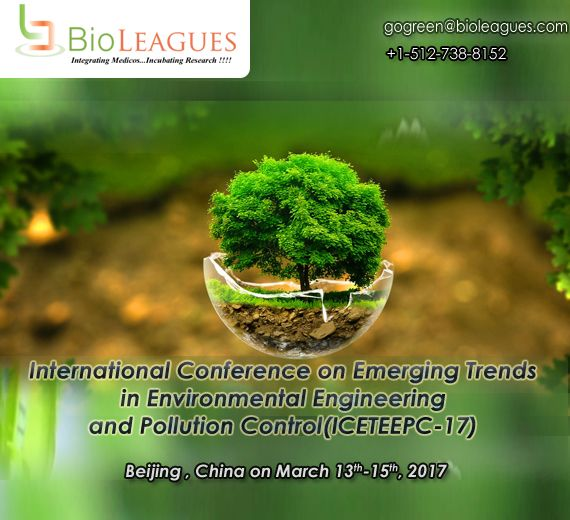 The ICETEEPC 2017. International Conference on Emerging Trends In Environmental Engineering and Pollution Control will be held during Mar.13 – Mar.15,2017 in China  #gogreen #environemntal #engineering #pollution #control #conference #meeting #seminar  for more details and registration https://goo.gl/sVZ7QW