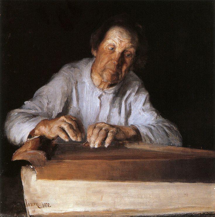 """Pekka Halonen, """"Kanteleensoittaja"""" (Minstrel), 1892, The Life and Art of Pekka Halonen - http://www.alternativefinland.com/art-pekka-halonen/"""
