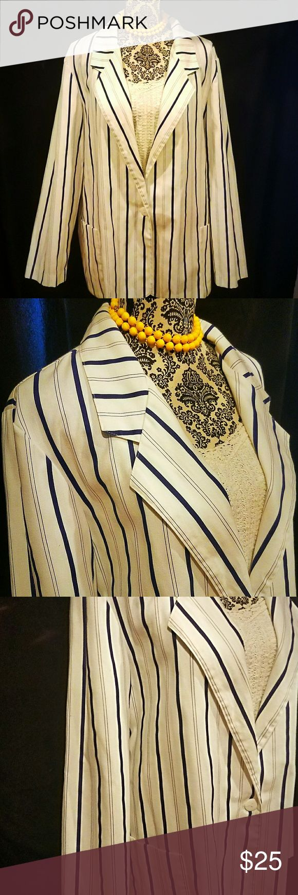 Vintage Plus Size Pinstripe Blazer Beautiful, crisp, clean blue and white plus size vintage blazer with button closure and side pockets.  Brand: It's Pure Gould  Size: 20  This is a great staple item to any closet! Dress up this blazer for work or pair with some jeans for a more casual look! Vintage Jackets & Coats