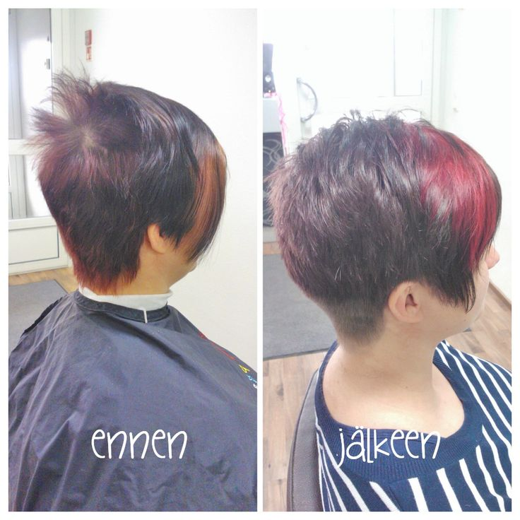 Before and after. Short women haircut and cool toned brown haircolour with bright red twist! Hair by Emmi/Parturi-kampaamo Salon Maria Seinäjoki