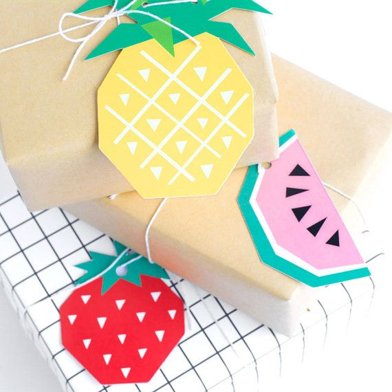 Mixed Geometric Fruit Gift Tags - Strawberry, Pineapple and Watermelon -  by The Chaos Club