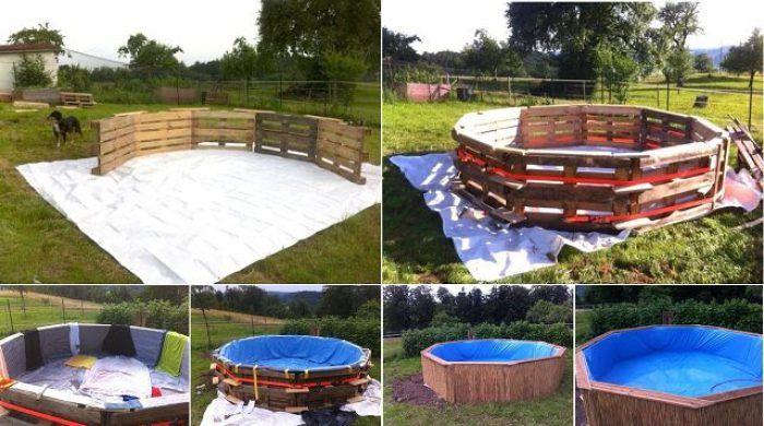 piscina ecologica con pallets de madera
