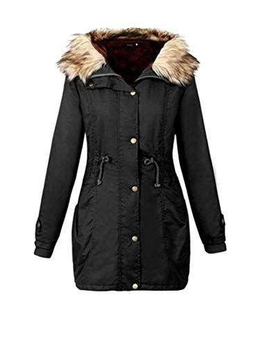 84b0218ab17 Hajotrawa Women s Faux Fur Lined Thickened Jacket Outerwear Warm Hooded  Parkas Coats Black M Best Winter