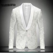 Blanco Hombres Chaqueta Bordada Rose Floral Vestido de Esmoquin de La Boda Trajes de la Etapa Para Cantantes Hombres Blazer Designs 2017 M-4XL(China)
