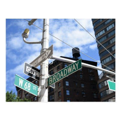 Street Sign Broadway W. 68th Upper West Side NYC Postcard - photography gifts diy custom unique special