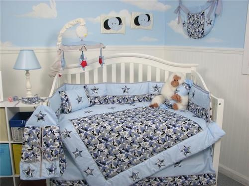 Modern blue camouflage baby crib nursery bedding set 13 pcs included