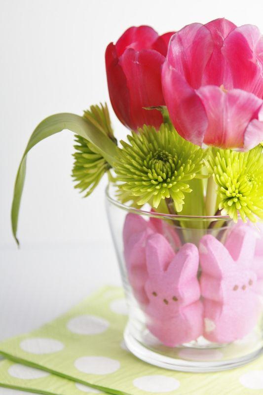 Tulips and Peeps Centerpiece....diy