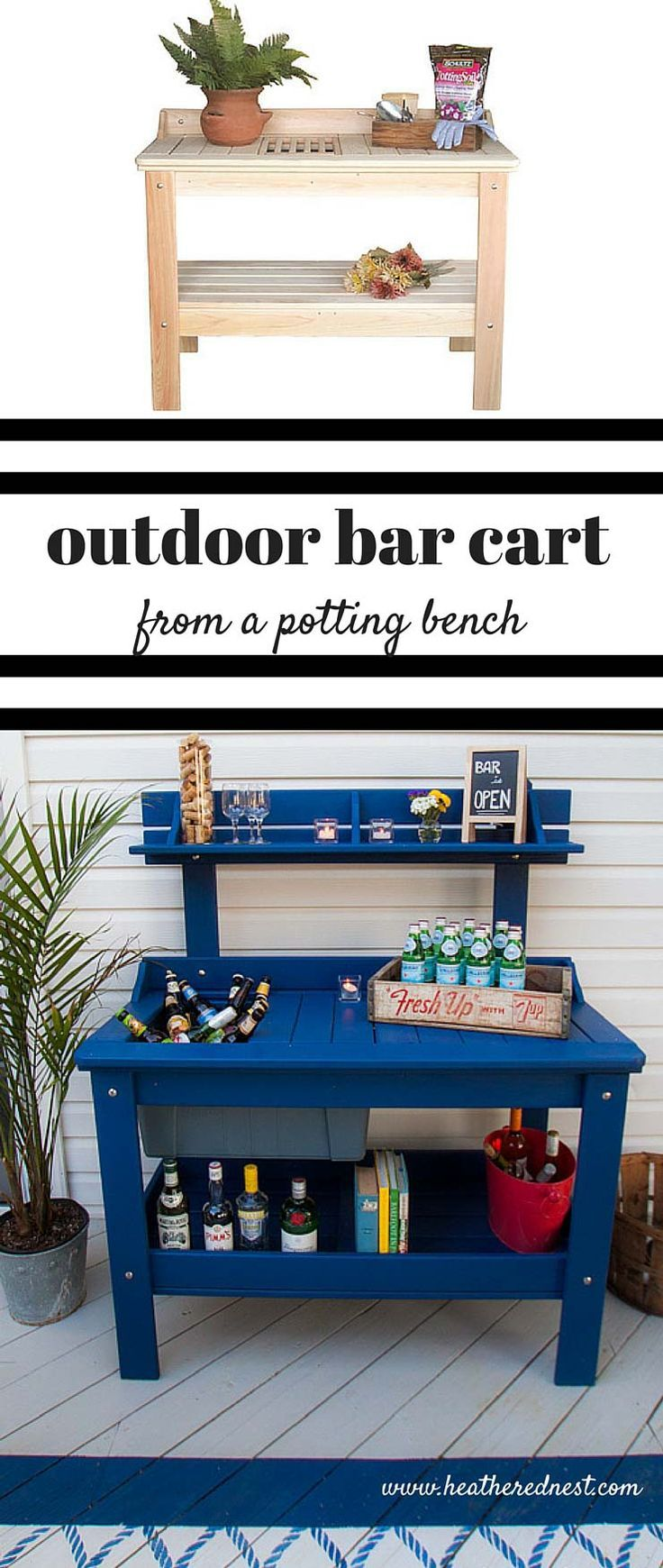 an outdoor potting table can be turned into the patio outdoor bar cart! Check out this one from http://www.heatherednest.com what a fun use for this type of piece!!