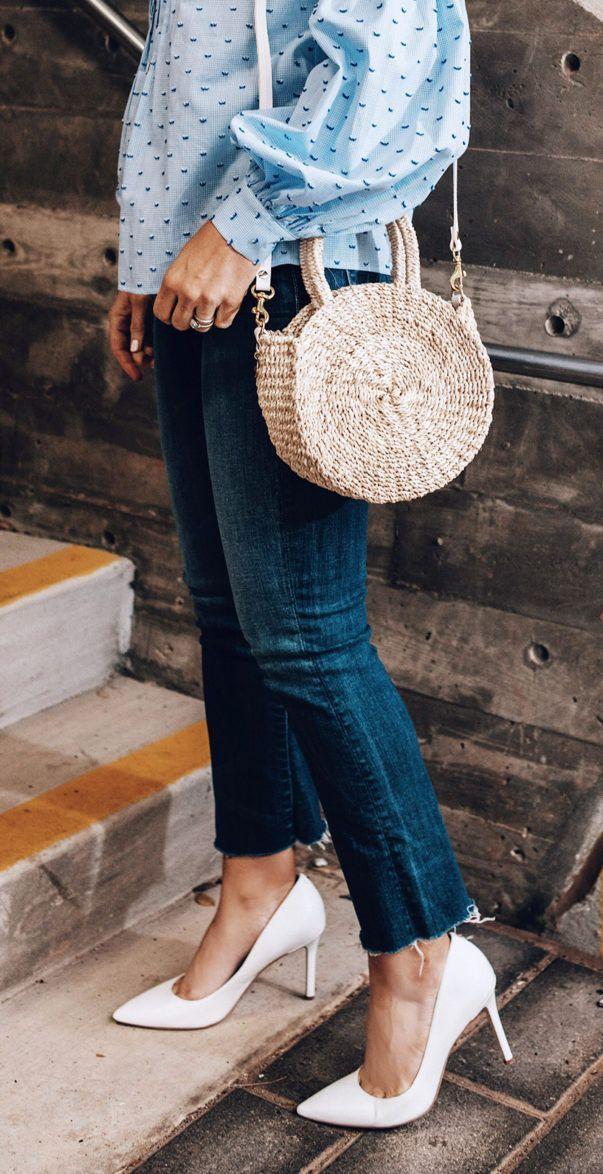 Clare V. round straw bag, white heels