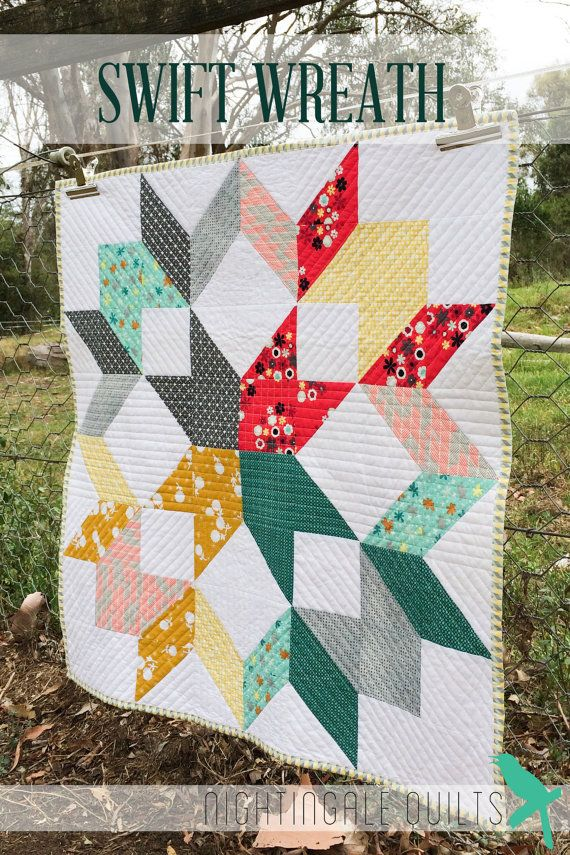 Easy Modern Quilt Patterns Free : Simple and Easy Modern THROW Quilt PDF Pattern Swift Wreath