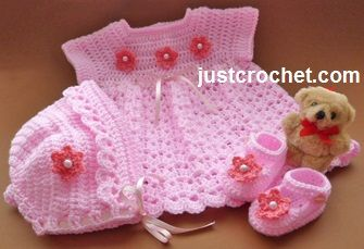 Free baby crochet pattern dress, bonnet and shoes usa